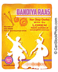Dandiya Night Poster - illustration of people dancing on...