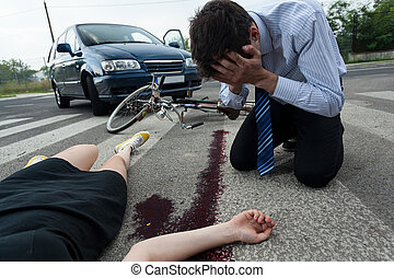 Driver and injured woman at road accident scene - Crying...