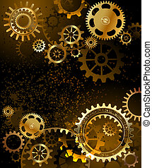 background with gear - black background with gold and brass...