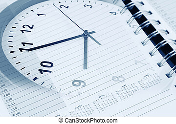 Time management - Clock face and diary page