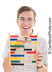 Nerdy hipster adding on abacus on white background