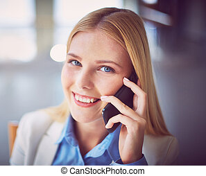 Agent calling - Pretty businesswoman calling on the phone...