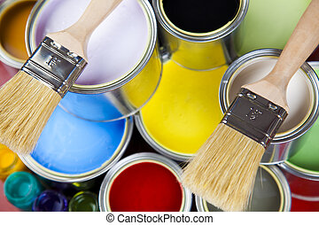 Paint brush and paint - Cans and paint and brushes on the...