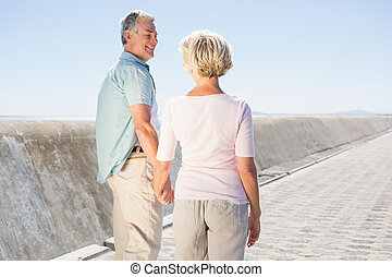 Senior couple holding hands and walking on a sunny day