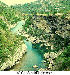 Tara river canyon in Montenegro mountains - Scenic deep...