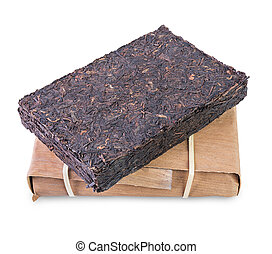 chinese puer tea - Aged chinese puer tea brick and pack of...
