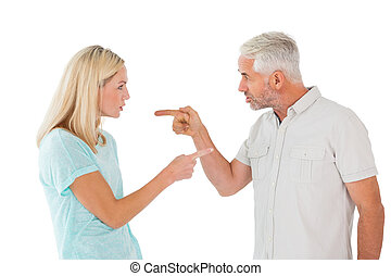 Unhappy couple having an argument on white background