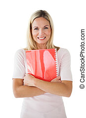 Happy mature student holding notebook on white background