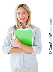 Smiling mature student looking at camera on white background