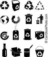 Recycle icons set in black