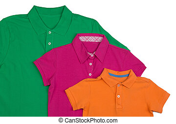 Three colored polo shirt close-up. Isolate on white.