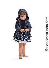Little girl angry in the hood with polka dots Isolate on...