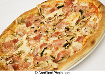 Special pizza - Close up of special pizza with ham and...