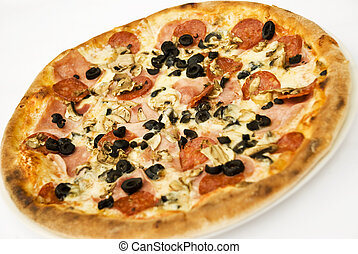 Pizza - Whole pizza with ham,salami,cheese,mushroom and...