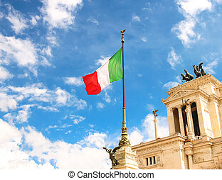 Flag at the monument to Victor Emmanuel II Piazza Venezia,...