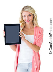 Handsome young man showing his tablet pc on white background