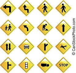 Road signs icons set