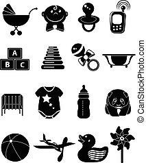 bebê, brinquedo, jogo, ícones