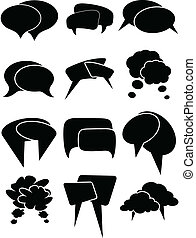Chat Bubbles - Set of black chat bubble vector illustrations...