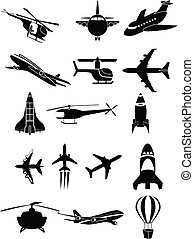 Air travel icons - Vector Air travel icons in black