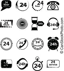 Customer Service Icons Set in black vector.