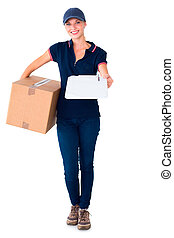 Happy delivery woman holding cardboard box and clipboard on...