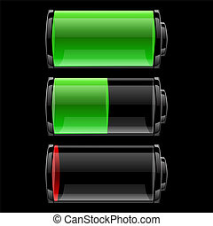 Battery icons set with different charge