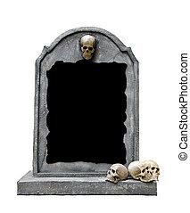 Lápida, cráneo, aislado, blanco, Plano de...