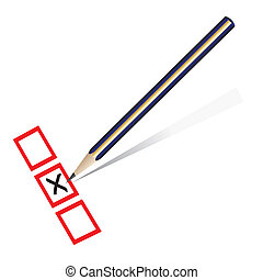 Pencil marking x on a piece of paper - Vector - Illustration...