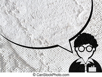 People thinking people talking and Speech Bubble on Cement...