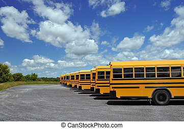 School buses in a row on a parking lot