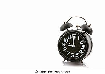 pretas, antigas, moda, alarme, relógio