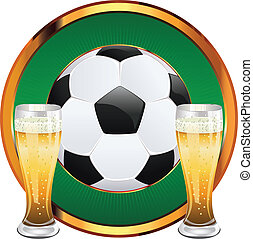 Beer and Soccer Ball - Glass of beer and soccer football...
