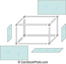 Drawing of a self-made metal aquarium