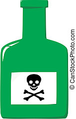 Bottle with poison and label a skull and crossbones - Green...
