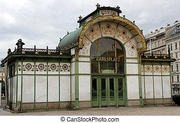 Ancient HISTORICAL underground entrance in KARLSPLATZ in...