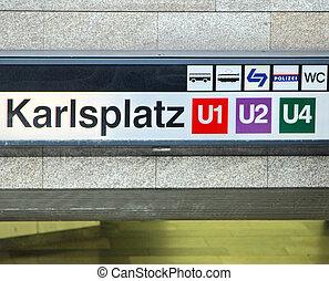 Metro directions in the KARLSPLATZ station in VIENNA
