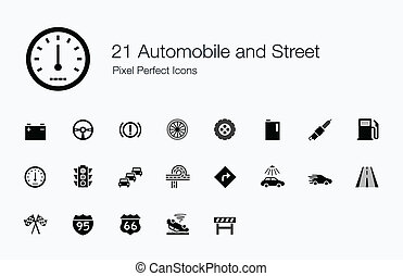 21 Automobile and Street Icons