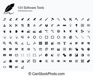 124 Software Tools Icons - This is a big icon set of...