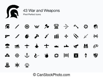 43 War and Weapons Icons - We love peace We dont want war -...