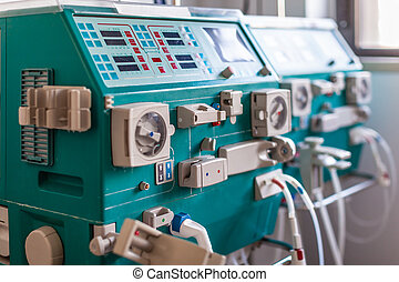 hemodialysis device - a dialyser or hemodialysis machine in...
