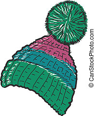 knitted cap - hand drawn, sketch, doodle illustration of...