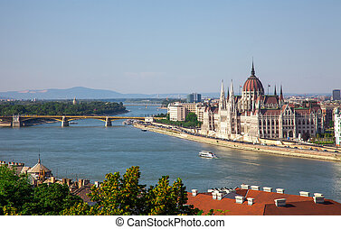 Hungarian Parliament building in Budapest, Hungary on a...