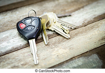 Car Keys on wood background - Car Keys on white background ,...