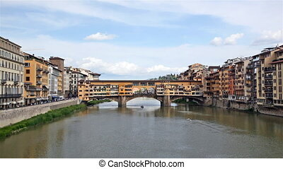 View of Gold Ponte Vecchio Bridge in Florence