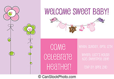 Baby Shower Invitation - Cute baby shower invite invitation
