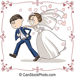 Groom Chased by Bride Cartoon - Vector cartoon of a scared...