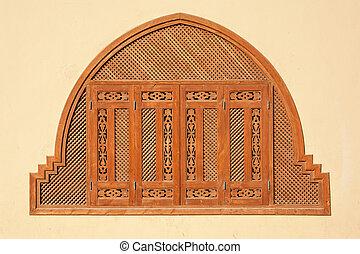 egypten, fönster, stänger med fönsterluckor