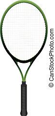 Tennis Racquet Illustration Isolated on White - A tennis...