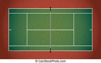 Realistic Textured Tennis Court Illustration - A textured...